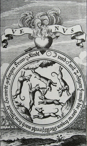 basil valentine 1717 Venus as three hares and three wolves