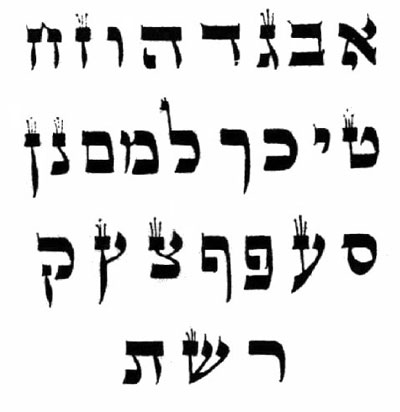 With Hebrew, sacred text such as the Torah are to be handwritten, with each letter following quite precise form.