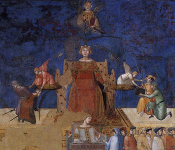 Justice by Lorenzetti, 14th C. fresco in Siena