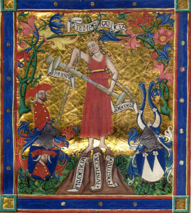 Temperance as depicted in ann illuminated manuscript of Plutarch's works