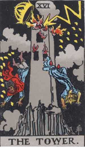 Tower from Waite Smith tarot deck 1909
