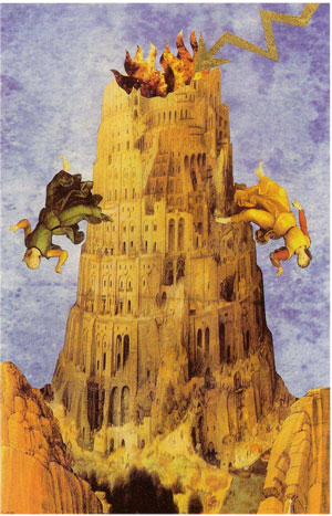 Lovers' Tarot Tower card incorporating Brueghel Tower of Babel